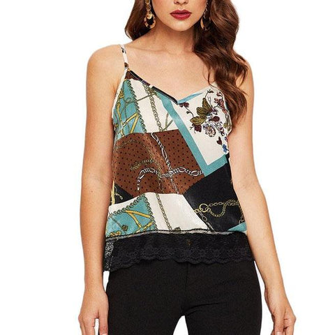 V-Neck Boho Top - Multicolour Scarf Print with Contrast Lace