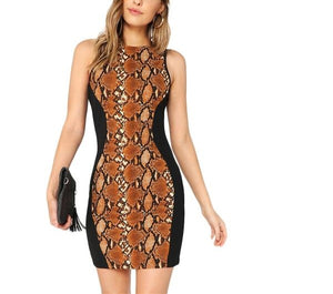 Trendy Colour Blocking Bodycon Dress in Black with Snakeskin Print