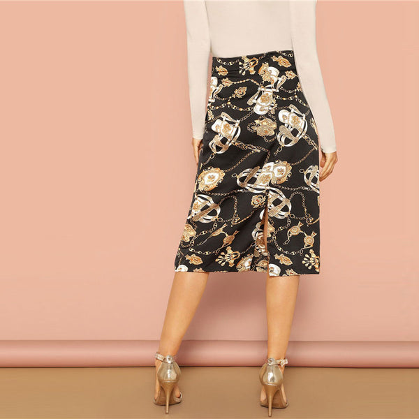 Elegant Mid-Calf Skirt in Black with Abstract Print - Back