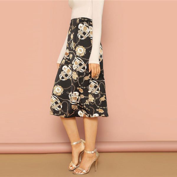 Elegant Mid-Calf Skirt in Black with Abstract Print - Side