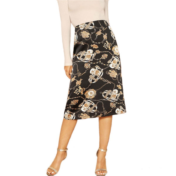 Elegant Mid-Calf Skirt in Black with Abstract Print