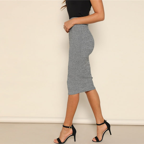 Casual, Yet Elegant Grey Pencil Knee-Length Skirt - side