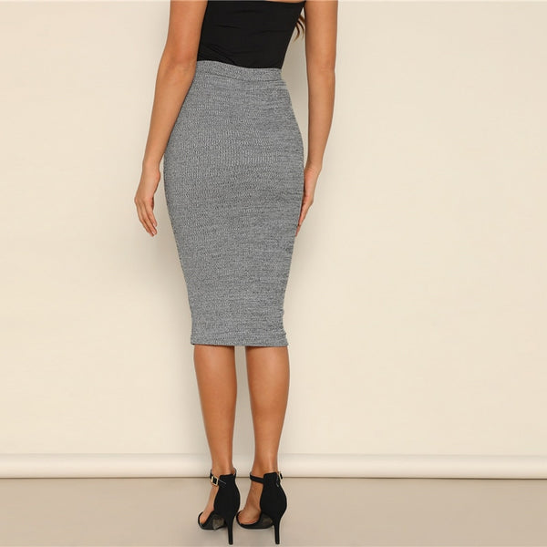 Casual, Yet Elegant Grey Pencil Knee-Length Skirt - back