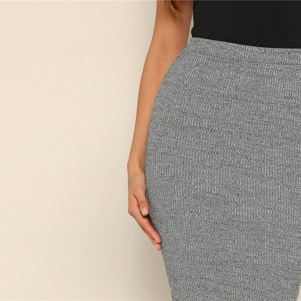 Casual, Yet Elegant Grey Pencil Knee-Length Skirt - zoom