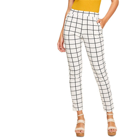 Elegant Casual Black and White Plaid Pants