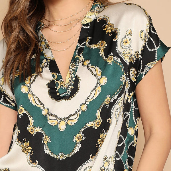 Elegant Multicolor Vintage Scarf Print Blouse Top with V Neck and Curved Hem - Zoomed in