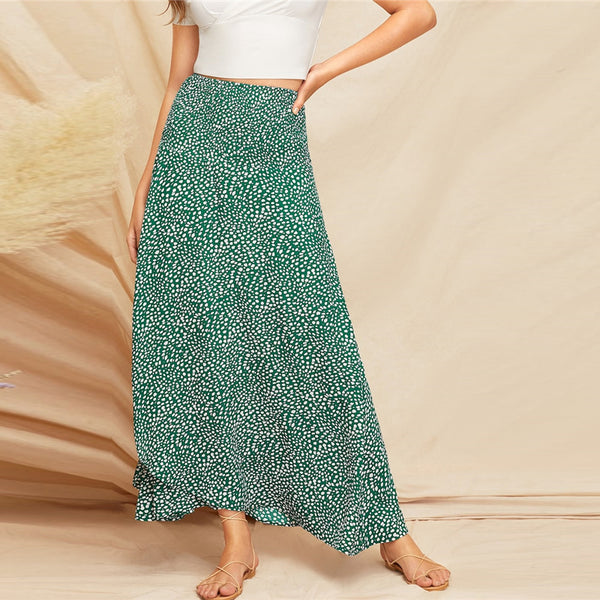 Boho Wrap Maxi Skirt with Slit in Green with White Abstract Print - Front