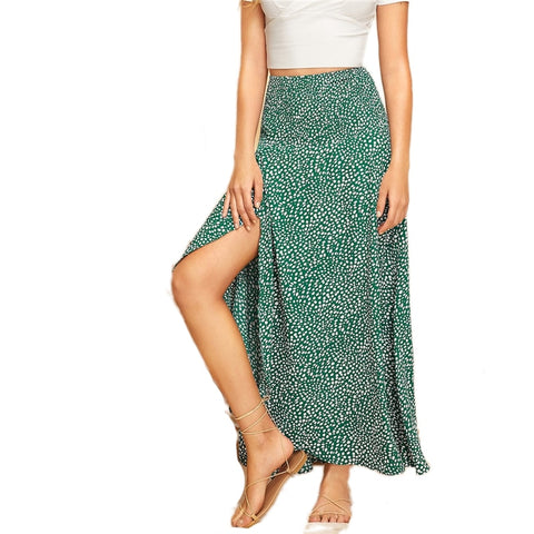 Boho Wrap Maxi Skirt with Slit in Green with White Abstract Print