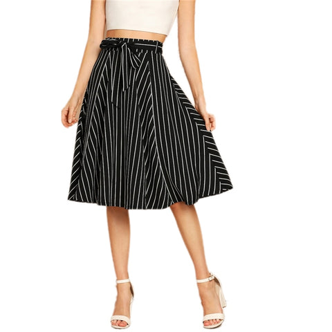 Elegant, Casual Black and White High Waist A-Line Shift  Skirt