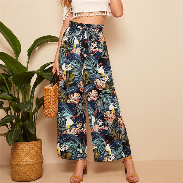 Relaxed Belted Wide Leg Pants with Multicolour Tropical Print - Front