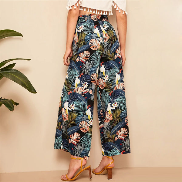 Relaxed Belted Wide Leg Pants with Multicolour Tropical Print - Back