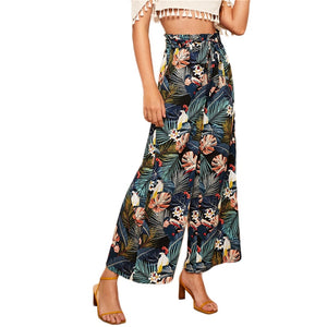Relaxed Belted Wide Leg Pants with Multicolour Tropical Print