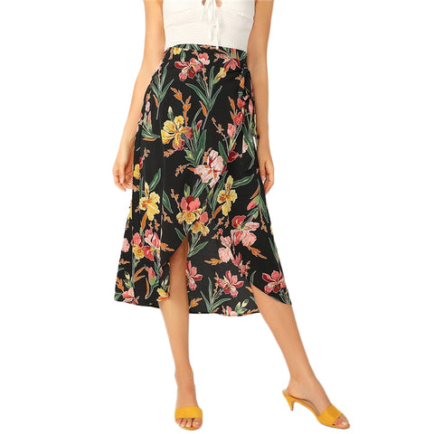 Boho Summer Multicolour Tropical Floral Print High Waist Wrap Skirt with Asymmetrical Hem
