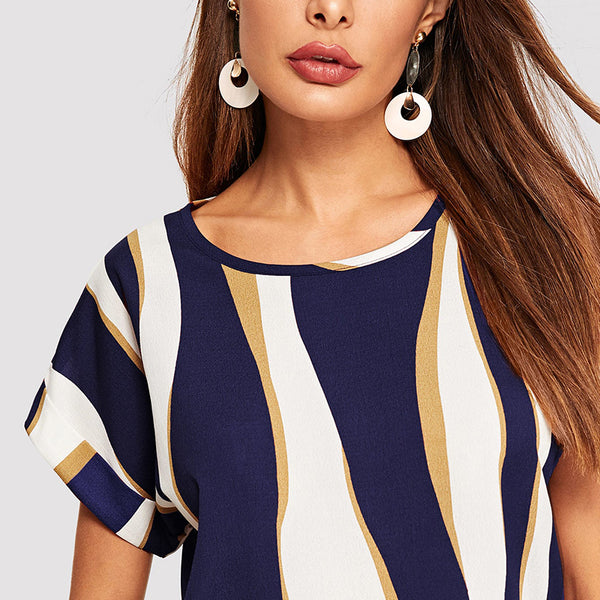 Casual Top, T-shirt with Cuffed Sleeves in Striped Colorblock Print - Blue - Zoomed in