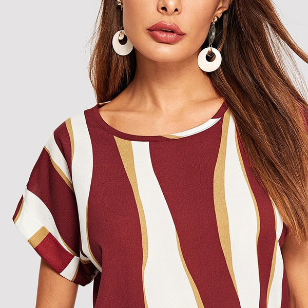 Casual Top, T-shirt with Cuffed Sleeves in Striped Colorblock Print - Red - Zoomed in