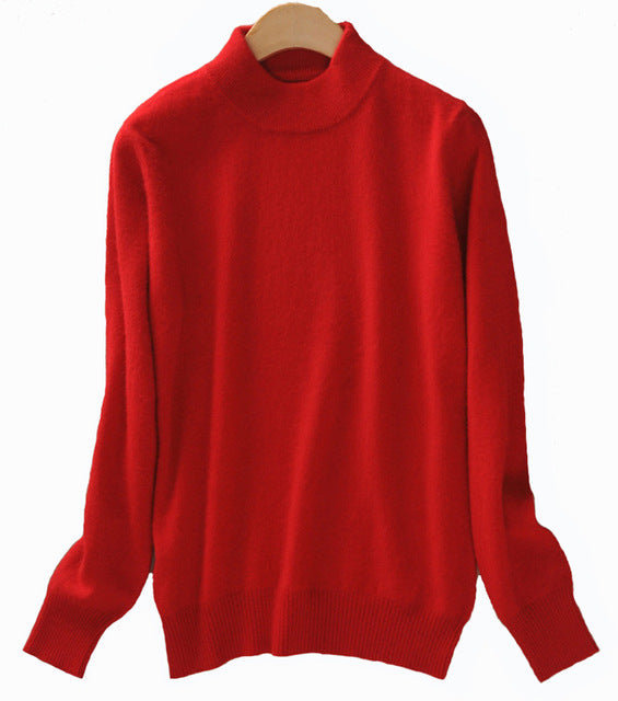 Cashmere Wool Elastic Pullover-Women's Cashmere Wool Elastic Winter Half Turtleneck Sweaters-ski-season