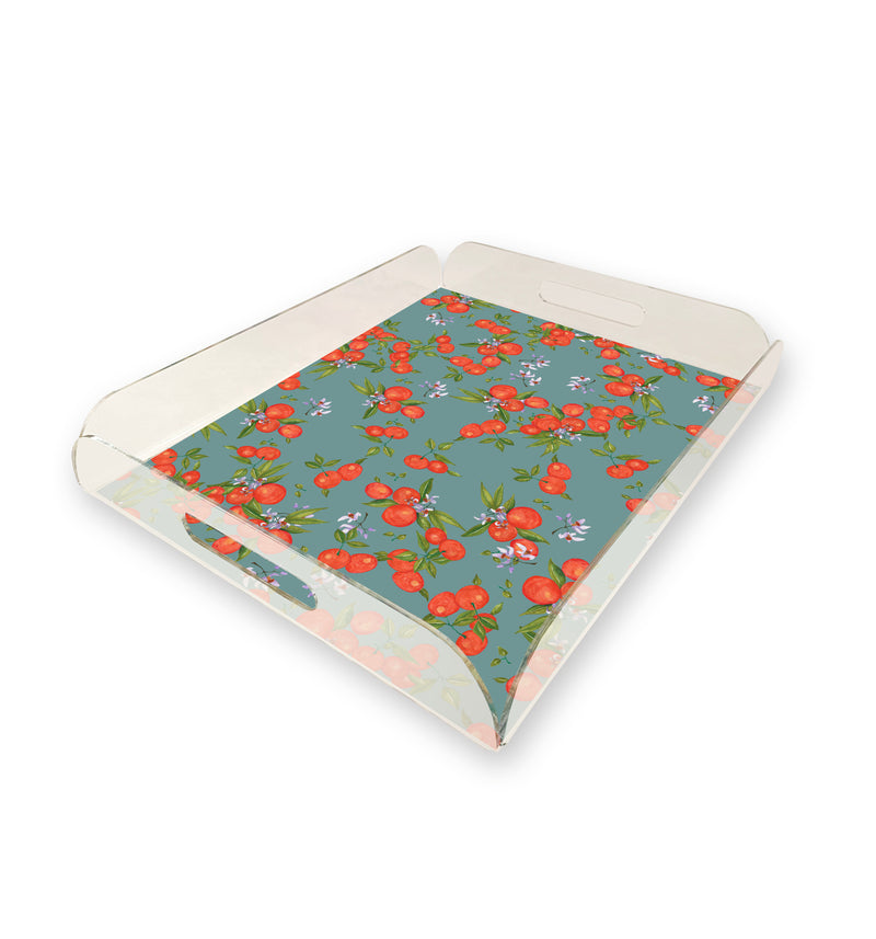 Orange Pattern Acrylic Tray by Fannina Bautista