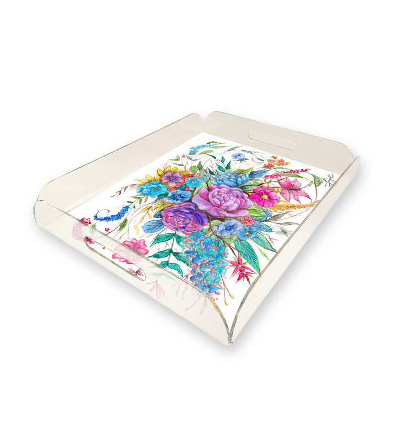 Flowers Acrylic Tray by Spatialchild