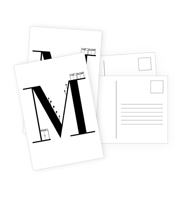 M Postcards by Clems on Paper