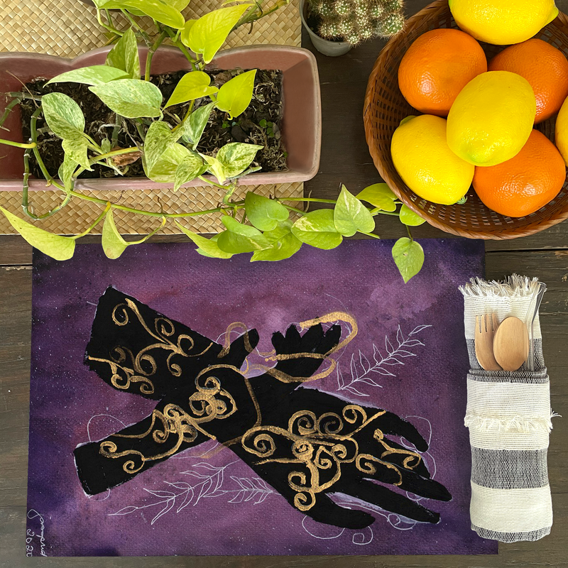 Hand in Hand Placemat by Janina Saprid