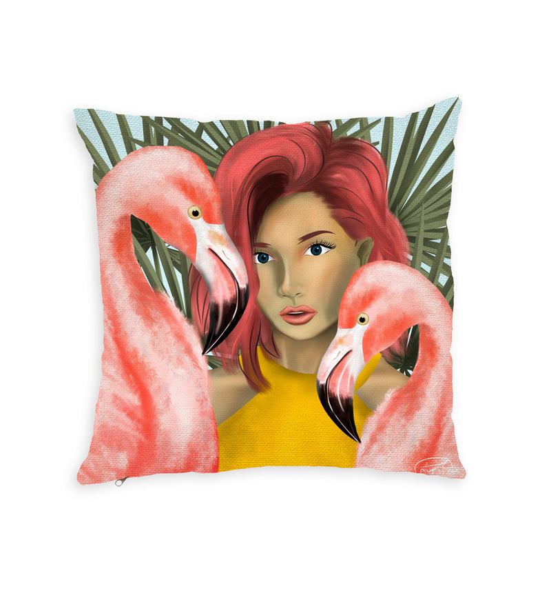 Flamingo Lady Throw Pillow by PAUPI