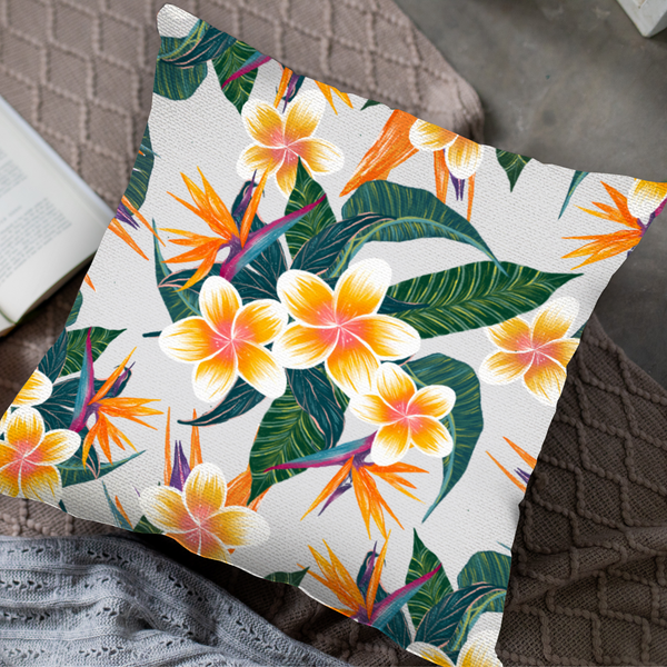 Plumerias In Bloom Throw Pillow by Tin Bejar