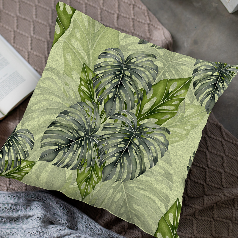 Tropical Greens Throw Pillow by Tin Bejar