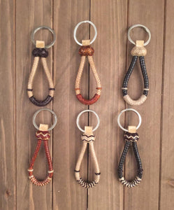 Beautiful Mini Bosal Rawhide Keychains -  Assortment of Colors