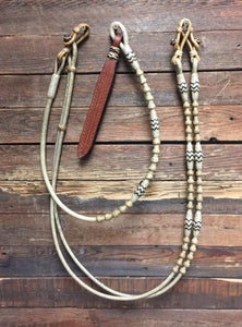 "Romal Reins 12 Plait 110"" Natural with Black Accents GM Pattern"