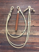 "Load image into Gallery viewer, Romal Reins 30 Plait 110"" GM Pattern - Natural w/ Black Accents - out of stock"
