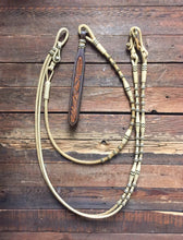 Load image into Gallery viewer, Romal Reins 18 Plait Natural w/ Black Accents All Barrels & Buttons - M