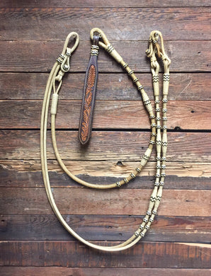Romal Reins 18 Plait Natural w/ Black Accents All Barrels & Buttons - M