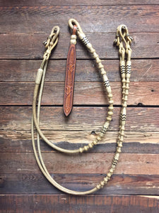 "Romal Reins 18 Plait 110"" GM Pattern Black Accents"