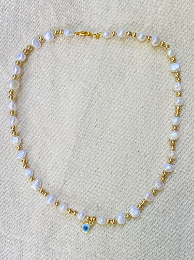 GOLD PEARL PROTECTION NECKLACE