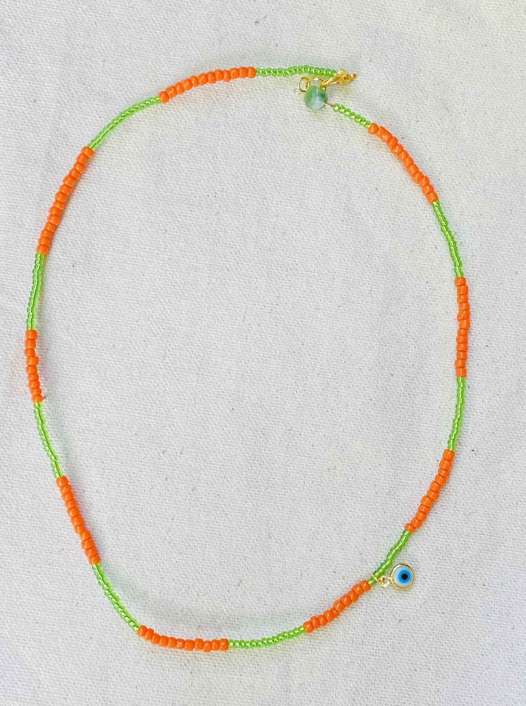 GREEN/ORANGE PROTECTION NECKLACE