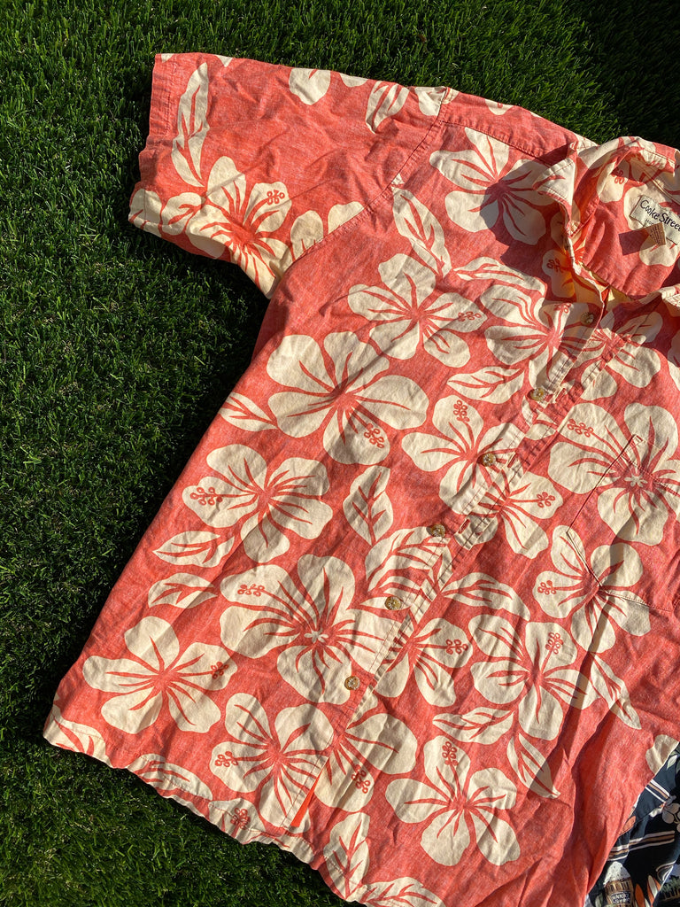 CORAL HIBISCUS FLOWER HAWAIIAN SHIRT
