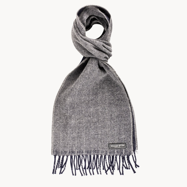 Grey & Navy Reversible Pinstripe Scarf