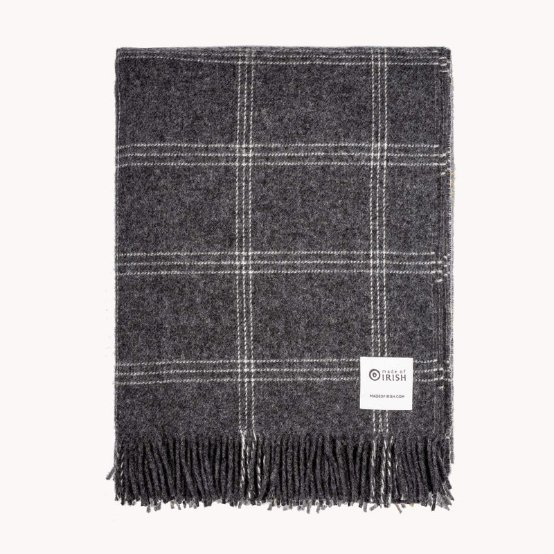 Charcoal & White Window Pane Check Throw