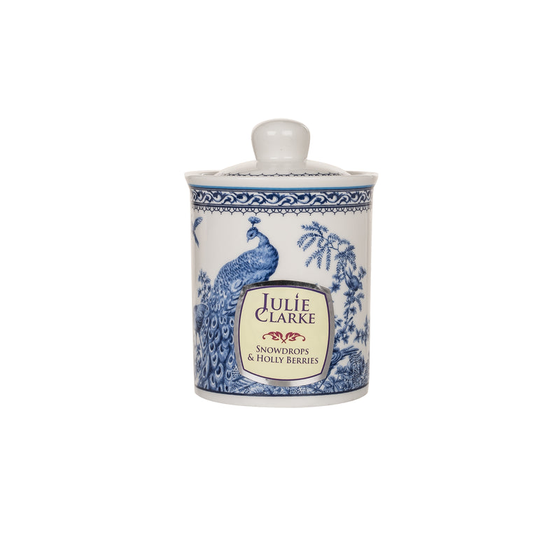 Snowdrops and Holly Berries Blue Peacock Storage Jar