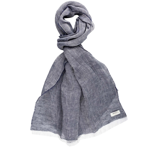Navy - Linen Herringbone Wrap