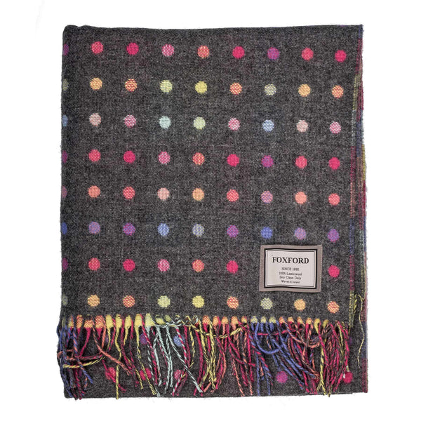 Grey Multi Spot Lambswool Throw
