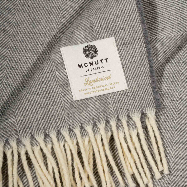 Uniform Grey Supersoft Lambswool Herringbone Throw