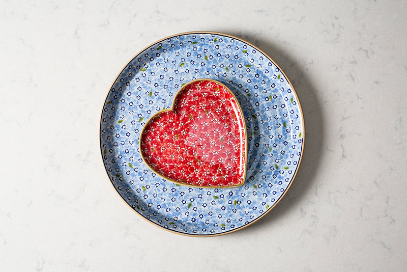 Heart Plate - Lawn Red