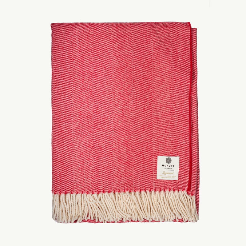 Red & Cream Herringbone Lambswool Throw