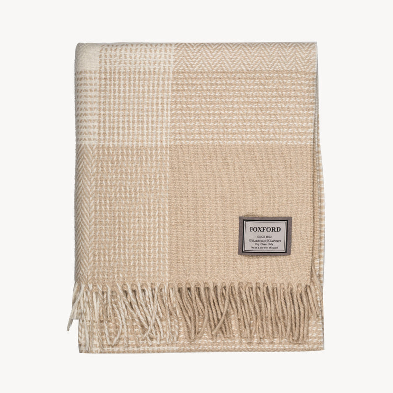 Bone & White Cashmere Blend Block Throw