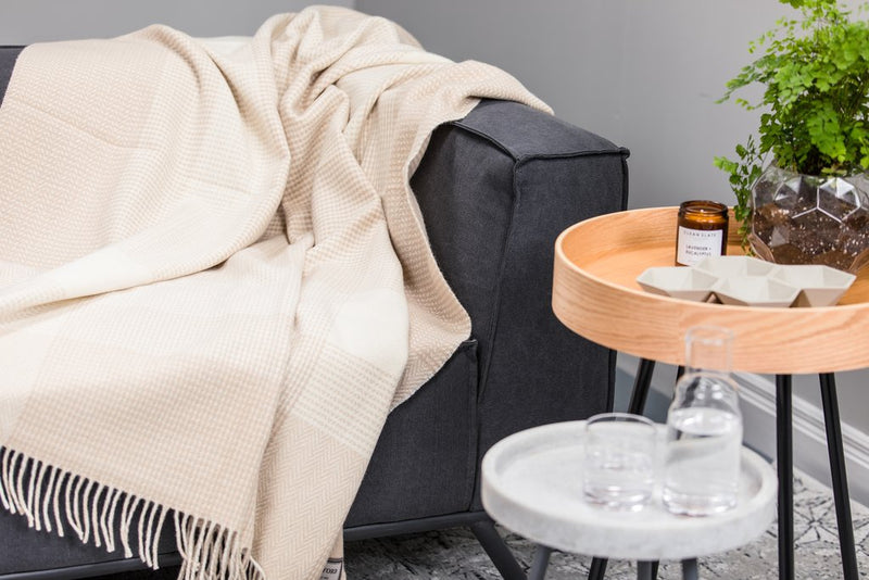 Bone & White Cashmere Blend Block Throw - Aoife