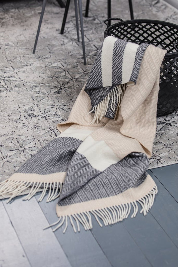Oxford Bone and White Stripe Cashmere Throw