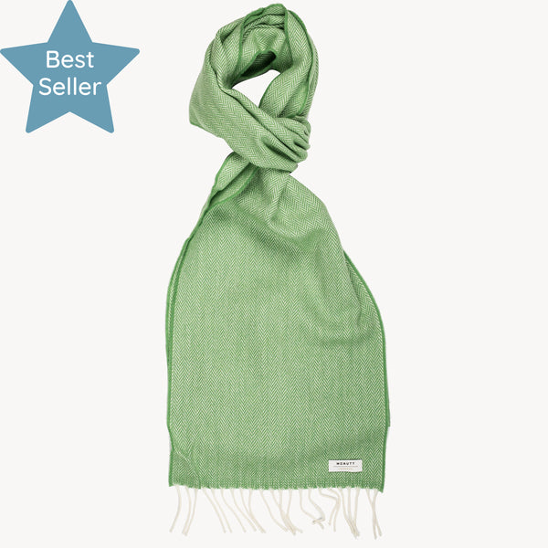 Golf Green Herringbone Supersoft Lambswool Scarf