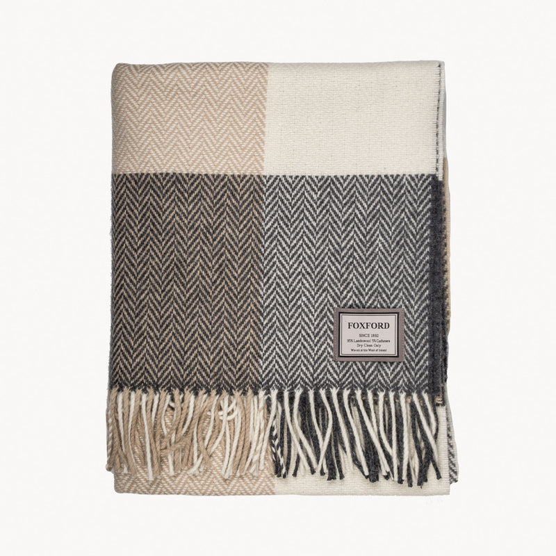 Grey, Bone & White Block Throw
