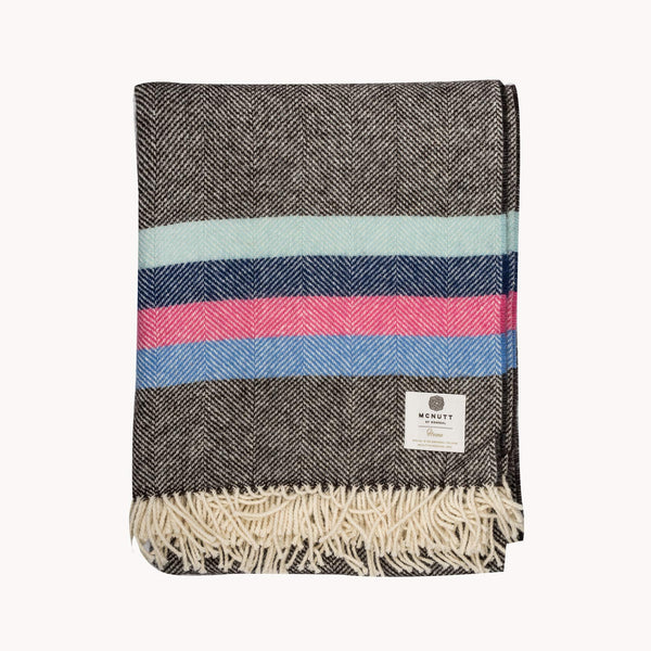Grey Winter Bright Stripe Wool Throw